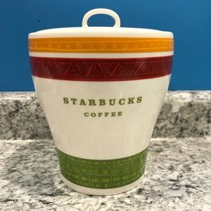 Starbucks Coffee Canister Ceramic Tribal 2005